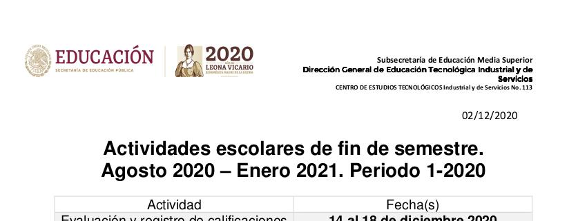 Actividades de fin de semestre 1-2020