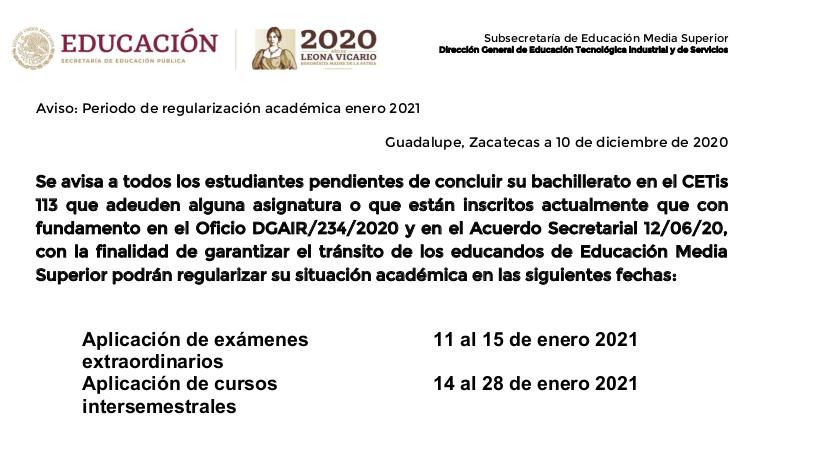Regularización académica Enero 2021