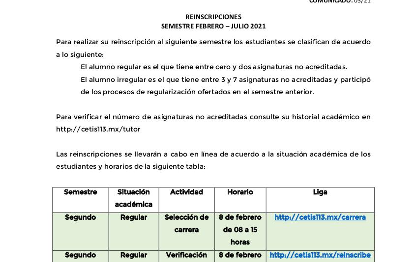 Reinscripciones semestre Febrero – Julio 2021