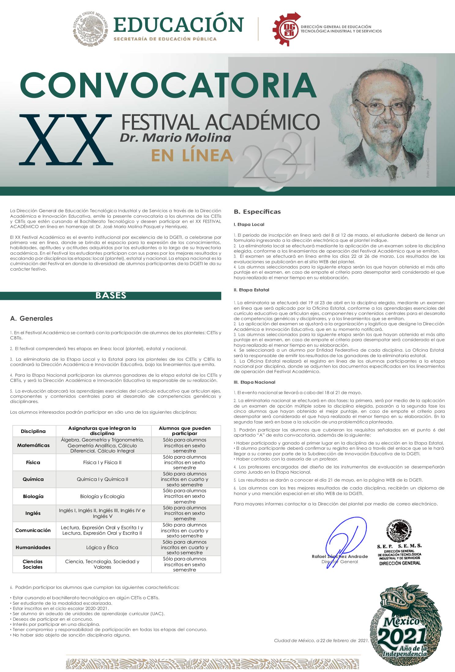 """XX FESTIVAL ACADÉMICO 2021"""" Dr. Mario Molina EN LÍNEA"""
