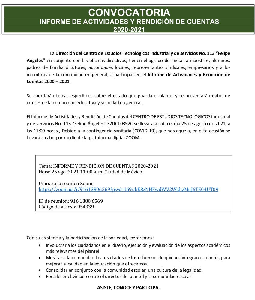 CONVOCATORIA INFORME DE ACTIVIDADES Y RENDICIÓN DE CUENTAS  2020-2021