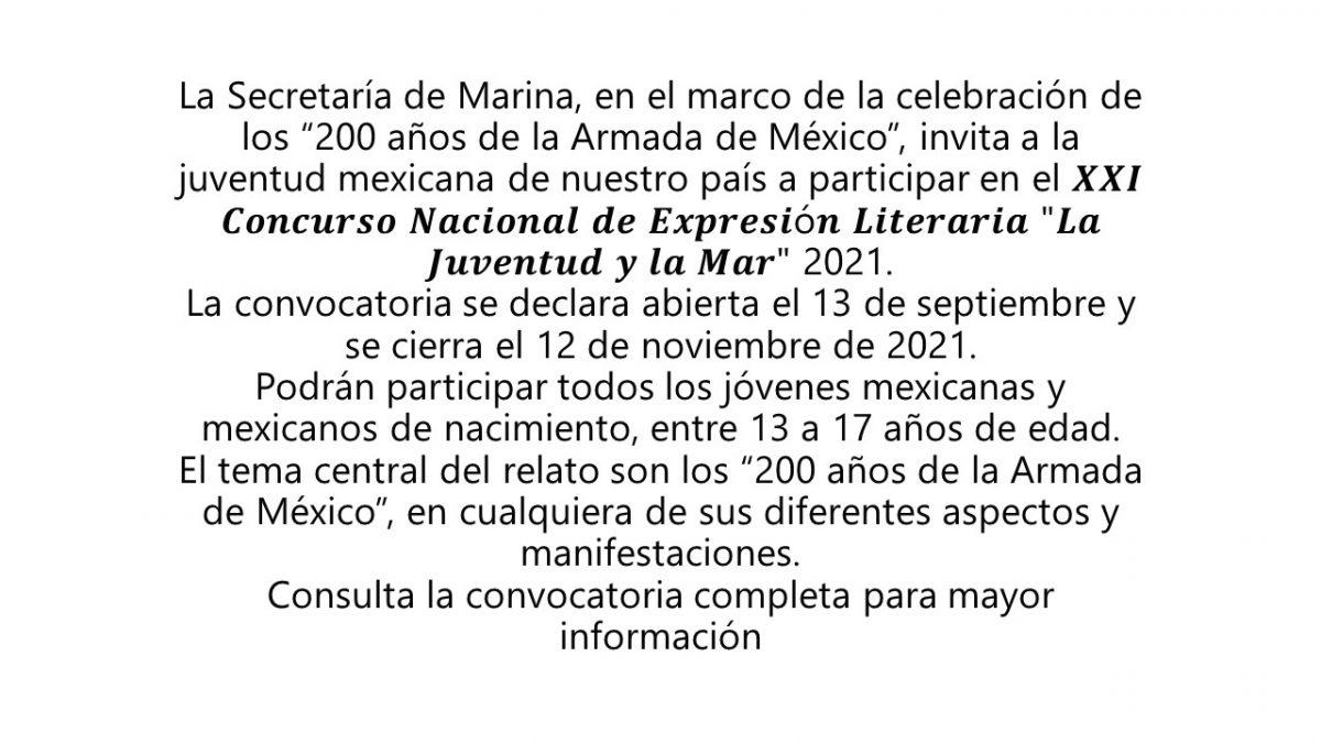 """XXI Concurso Nacional de Expresión Literaria """"La Juventud y la Mar"""""""