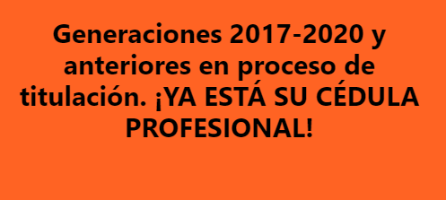 Cédulas profesionales electrónicas Generaciones 2017-2020 y anteriores