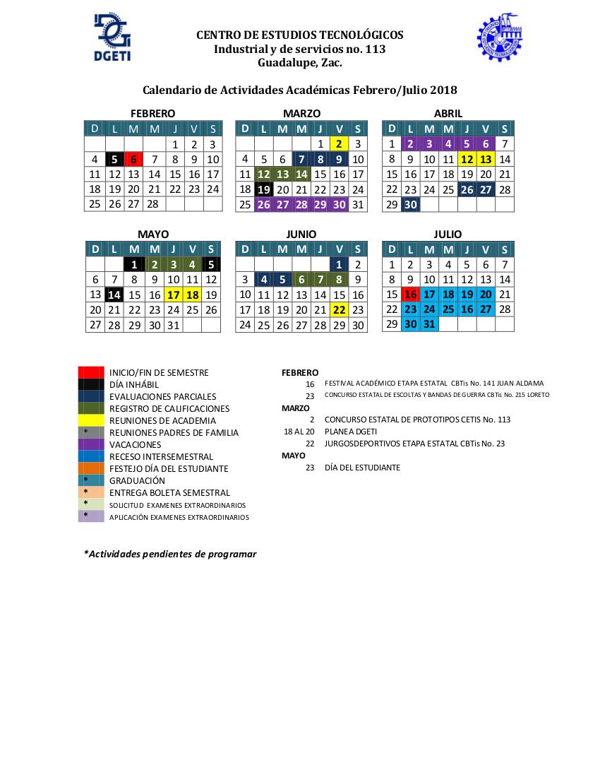 Calendario Julio Y Agosto 2020.Calendario Interno Bachillerato Tecnologico Zacatecas