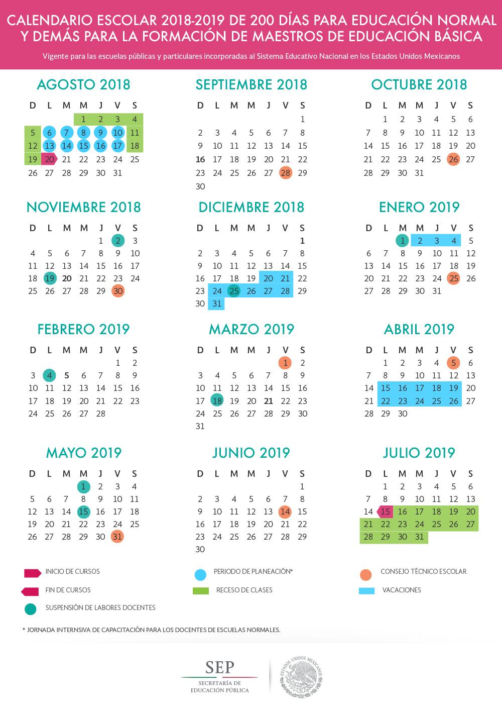 Aragon Calendario Escolar.Calendario Escolar 2018 2019 Bachillerato Tecnologico