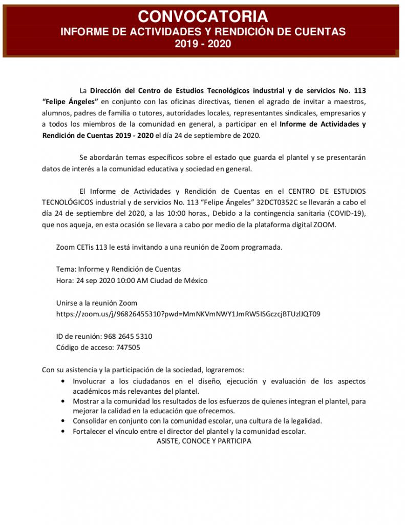 INVITACIÓN INFORME DE ACTIVIDADES Y RENDICIÓN DE CUENTAS 2019 – 2020